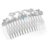 Fashion Hair Comb with Blue Glass Accents