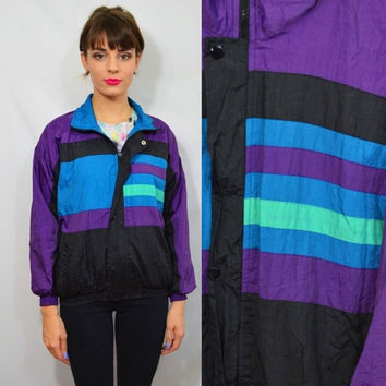 Vintage Track Jacket 90s Small XS Hipster Wind Breaker Lightweight Purple Black Blue Youth Large 14 / 16 1990s Vintage Clothing