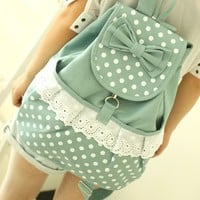 Vintage Mint Lace Canvas Backpack