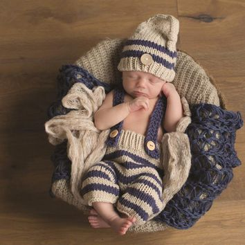 Baby Shower Gift Newborn Baby Photography Props Infant Knit Crochet Costume Blue Striped Soft Outfits Button Beanie+pants BH70