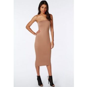 Missguided - Strapless Jersey Bodycon Midi Dress Camel