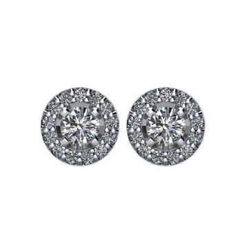 3/8 CTW Diamond Halo-Styled Stud Earrings in 14kt White Gold