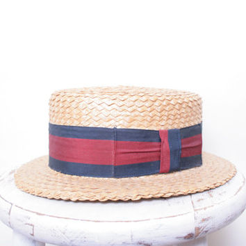 Vintage Great Gatsby Esque Twenties Straw Boating Hat with Red and Blue Ribbon by the Brand Fine Straw