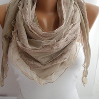 Beige Elegance Scarf Shawl with Lacy Edge by DIDUCI on Etsy