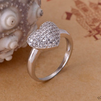 Shiny Jewelry Stylish Gift New Arrival Heart Silver Accessory Ring [7495440775]