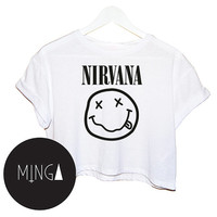 NIRVANA SMILEY t shirt top tee crop tank vest paris hipster fashion grunge trendy swag dope cc fuck yolo womens ladies retro vtg band music