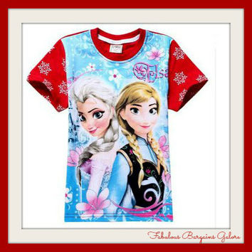 Frozen Anna and Elsa Blue/Red Top