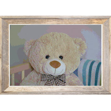 Teddy Bear Cross Stitch Pattern Blue