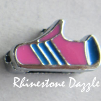 8mm Pink Sports Shoe Slide Charms, sneaker slide charm, running shoe slide charm, runner symbol charm, 8mm shoe slide charms