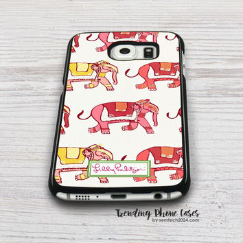 Elephant Cute Pattern-Lilly Pulitzer Samsung Galaxy S6 Case Cover for S6 Edge S5 S4 Case