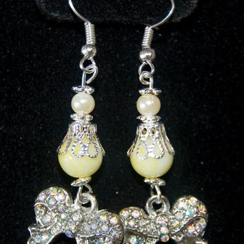 Handmade Soft Yellow Silver Dangle Earrings with Little Bows Charms Silver Plated Hypo-Allergenic
