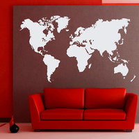 World Map Wall Decals Geographic Vinyl Stickers Countries Wall Decor Home Decor for Living Room, Decal for Office C029