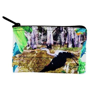 ICIKJY1 Great Blue Heron Abstract Paint Coin Purse