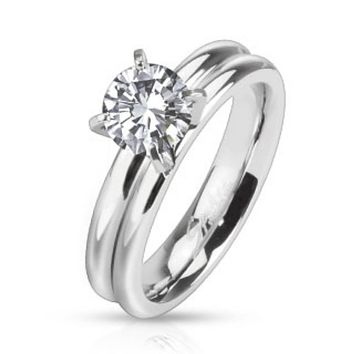 Prong CZ Solitaire Grooved Dome Band Ring Stainless Steel