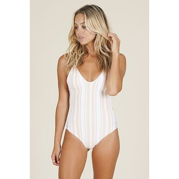 Kaileigh Swimwear - Navy Road One Piece | Nude Stripe