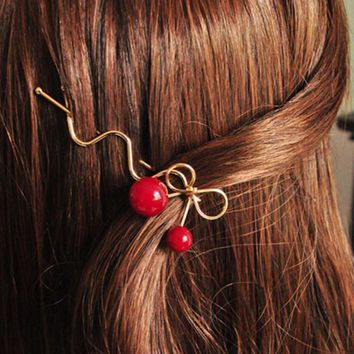 Girl Red Cherry Shaped Bowknot Hairpin