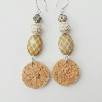 Wine cork earrings with cream beads