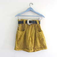 Vintage 80s yellow and black cotton shorts. women's size M