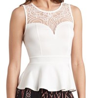 EMBROIDERED MESH PLUNGING PEPLUM TOP