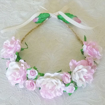 Wedding rose crown Pastel pink carnation Big rose headpiece mixed size flower head band