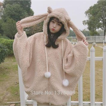 Harajuku Style Lolita Batwing Sleeve Hoodie 2018 Autumn Winter Warm Kawaii Costume With Bunny Ears Zipper Hoodies Women Girls