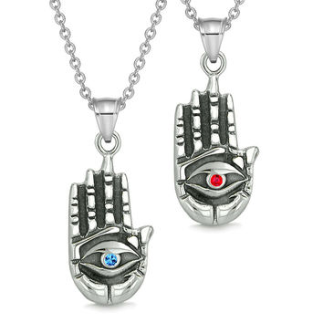 All Seeing and Feeling Buddha Eye Hand Love Couples or Best Friends Amulets Blue Red Pendant Necklaces