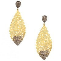 Golden Leaf Earrings with Filigree Work - Deepa & Rohita - Designers