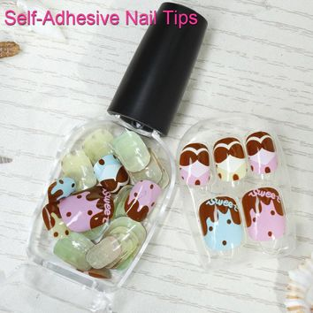 12Set Nail Polish Pink Blue Nail Tips Ice Cream Cake Self-Adhesive Fake Nail Bowknot Press-On False Dot Artifical Manicure U0734