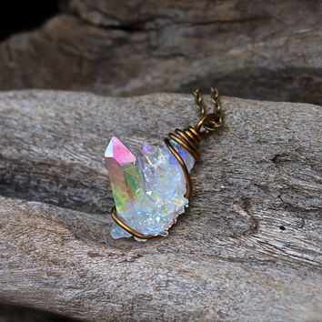 Angel Aura Quartz Necklace - Rainbow Crystal Cluster - Opal Quartz Jewelry - Bohemian Necklace - Wicca Jewelry - Angel Aura Crystal Necklace