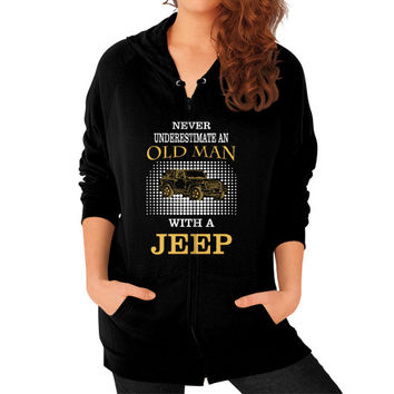 Old man with jeep Zip Hoodie (on woman)