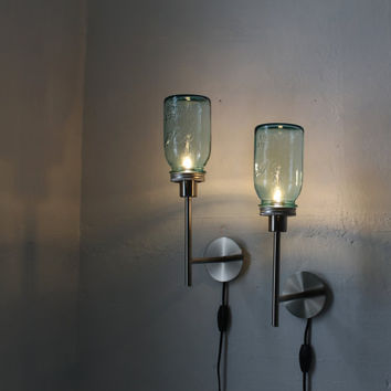TWO BLUE  Set of 2 antique aqua Mason Jar Wall Sconce by BootsNGus