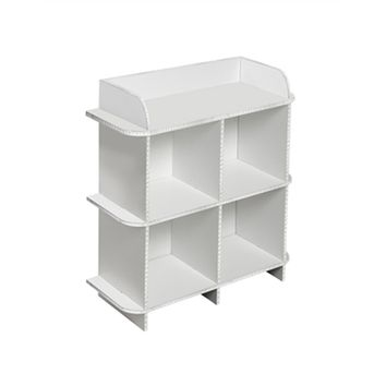 Deco Dorm Storage Shelf - 4 Bin - Dorm shelving is essential for college dorm organization. Increase dorm storage with dorm furniture. A college dorm supply that is a college dorm room space saver, a dorm necessity.