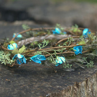Woodland Flower Bridal Circlet in Turquoise for Weddings, Fairy Costumes, or Elf Costumes