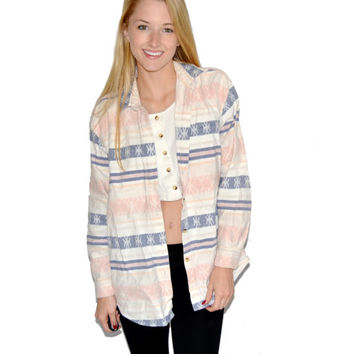 Tribal Long Sleeve Shirt, Aztec Shirt, Navajo, Southwestern, Western Shirt, Thermal, Pink, Blue, White