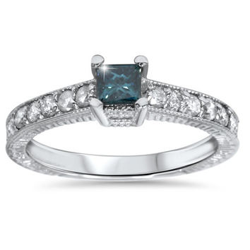 0.50CT Princess Cut Antique Hand Engraved Blue Diamond Ring - Size 4-9