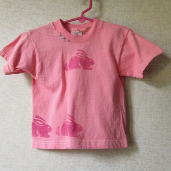 Bunny Rabbit Toddler T Shirt  coral pink hand dyed stamped printed embroidered unisex boys girls size 4 4T ooak one of a kind