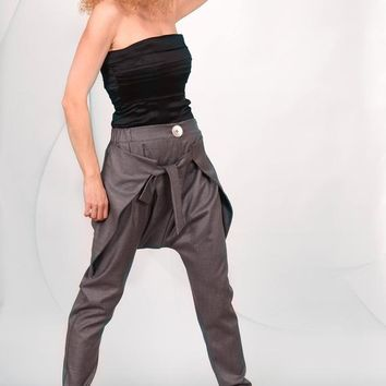 Harem Pants/ Grey / Casual/ Extravagant/ Stylish/ Drop-Crotch/ Elasticated waist /Cotton-Blend