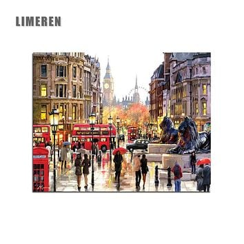 Frameless London Street DIY Painting By Numbers Landscape Acrylic Paint By Numbers Modern Wall Art Picture Home Decor