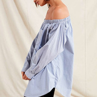 Urban Renewal Recycled Off-The-Shoulder Oxford Dress | Urban Outfitters
