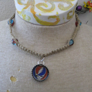 Grateful Dead Steal Your Face Hemp Macrame Bottlecap Necklace HANDMADE Blue and Red  glass beads OOAK