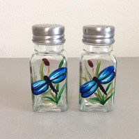 Salt and Pepper Shaker Set Hand Painted Dragonflies