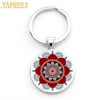 TAFREE 2017 new mandala flower of life keychain classic budddhist lotus sacred geometry women key chain holder for car bag CT323