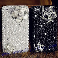 flowers iphone 5 case with pearls,bling bling iphone 4s case,unique Samsung galaxy s3 case