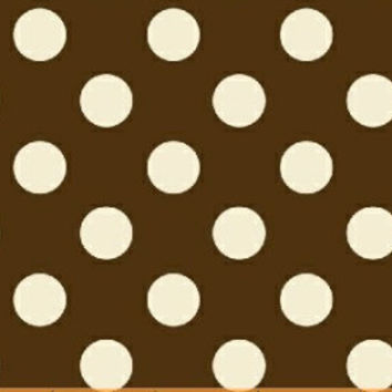 Cotton Fabric, Brown and White Polka Dot, 1 Yard, more yardage available