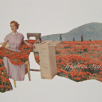 Spring Paper Collage, Sewing Spring, One of a Kind Floral Art, Mother's Day