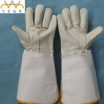 leather welding gloves  CIG MIG TIG 37cm long Prevent burns breath able insulation wear non-slip Anti-skid wear Welding gloves