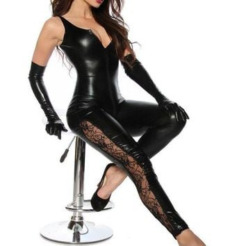 DCCKFV3 2016 sexy women Black Catwomen Jumpsuit Catsuit ClubWear Costumes for Women Body Suits