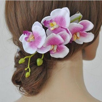 1 Pc Wedding Bridal Hairpins Orchid Flower Hair Clips Girls Barrette Bohemia Beach Decoration Hair Accessories for Women