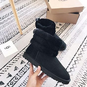 UGG Autumn And Winter Women Fashion New Keep Warm Classic Mini Fluff Quilted Boot Shoes Black