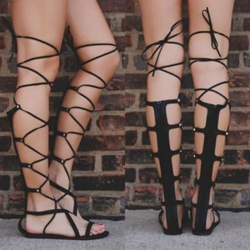 Womens-Lace-Up-Roman-Gladiator-Knee-High-Sandals-Boots-Flat-Heel-Party-Shoes